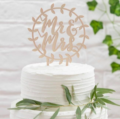 wooden wedding cake topper