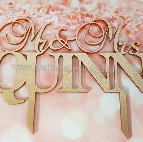 glitter style wedding cake topper