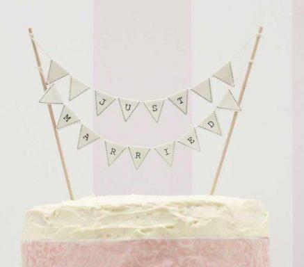 bespoke bunting wedding cake topper