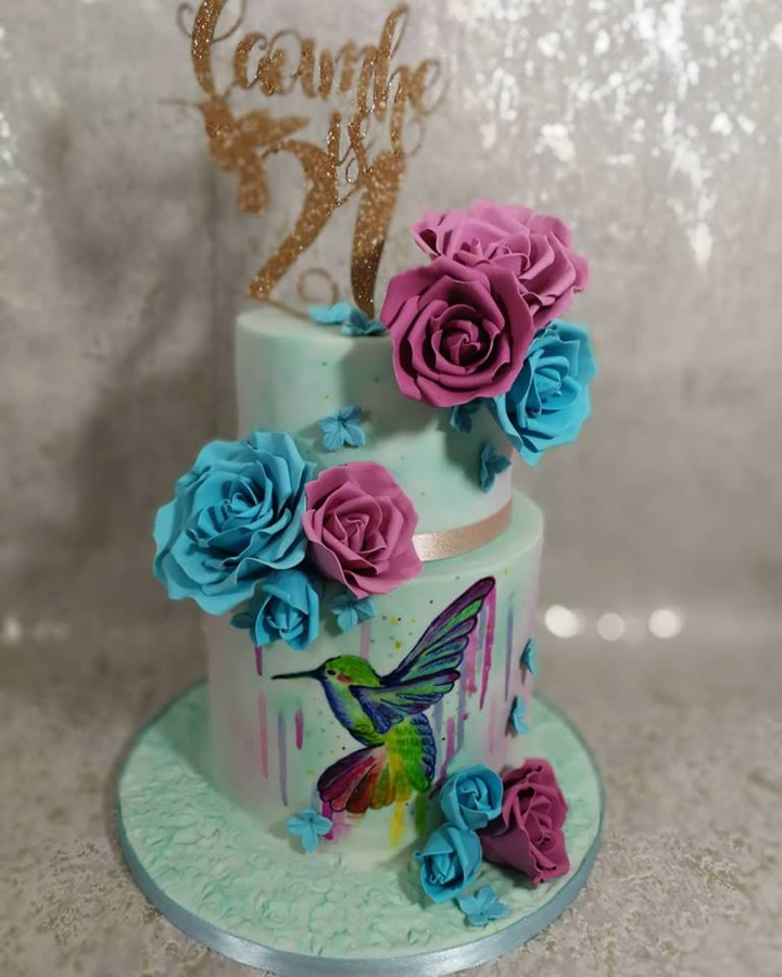Hand-Painted Hummingbird 21st Birthday Cake Design