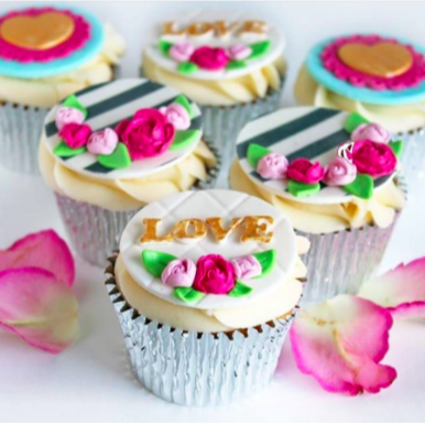 Love Themed Valentines and Wedding Cupcakes