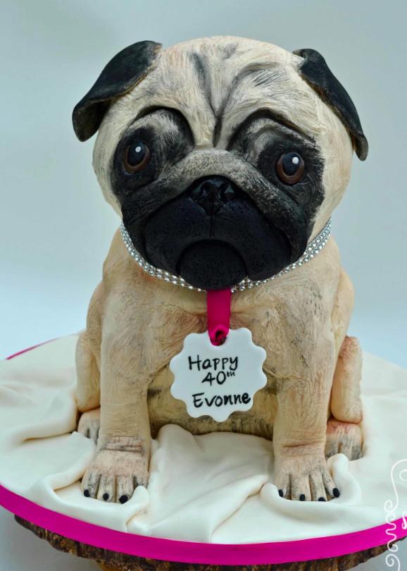 Pug Themed Novelty Birthday 40th Cake