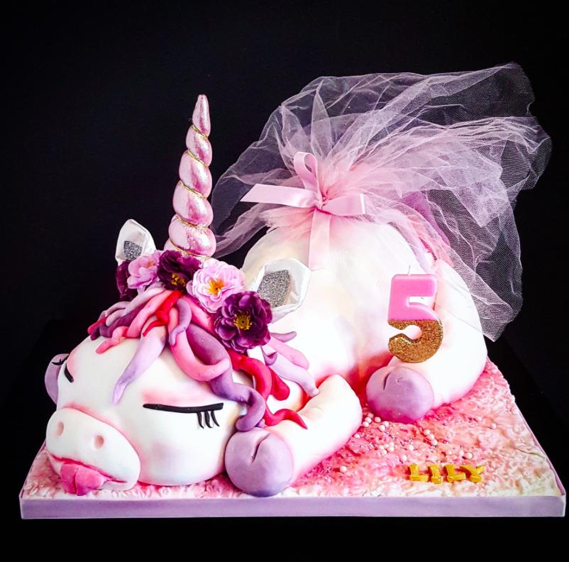 Sleeping Unicorn Novelty Birthday Cake