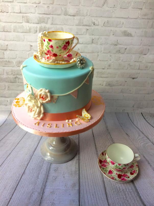 Vintage Teacup Themed 30th Birthday Cake